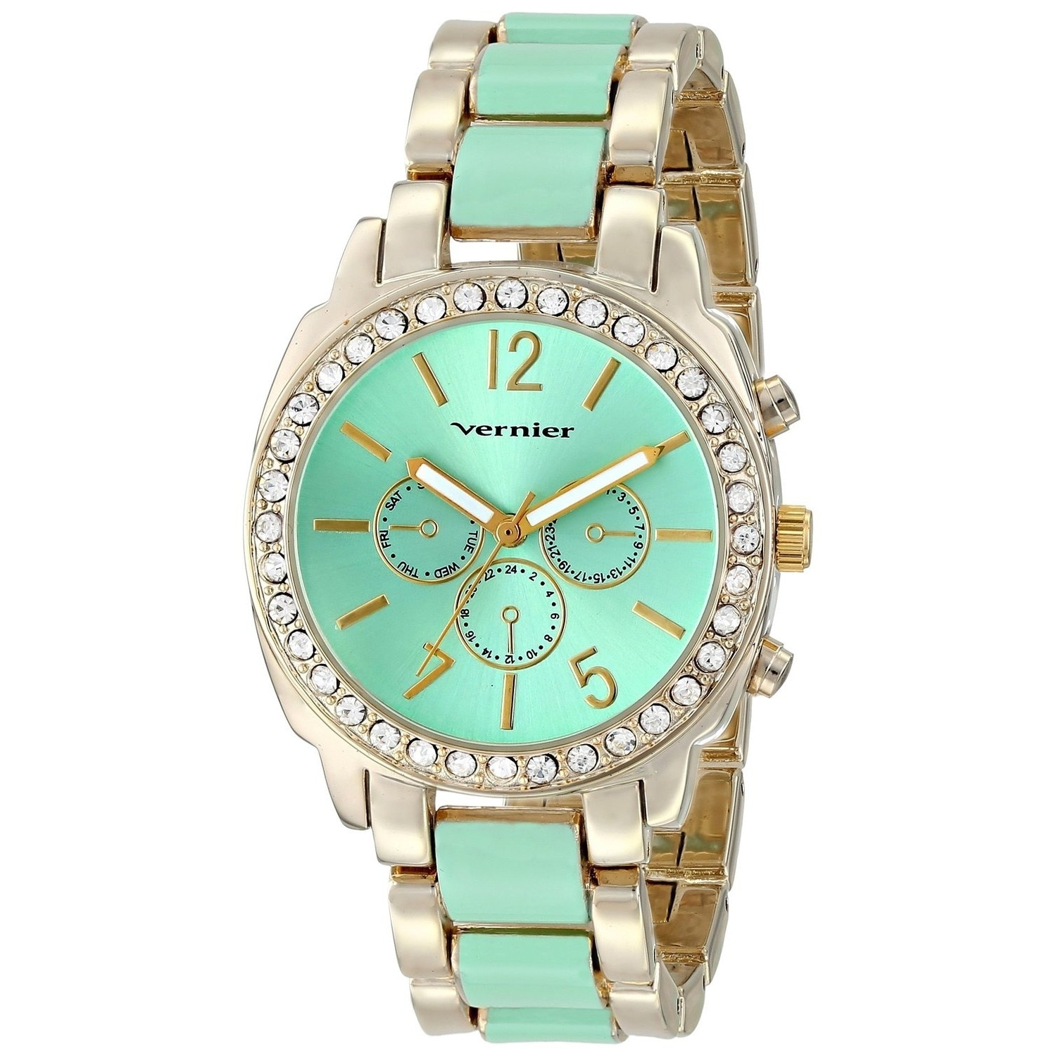 Vernier  Women's Stone Bezel Goldtone Green Resin Link Watch