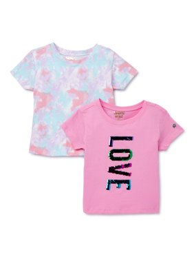 Limited Too Girls Reversible Flip Sequin and Print T-Shirts, 2-Pack, Sizes 5-16