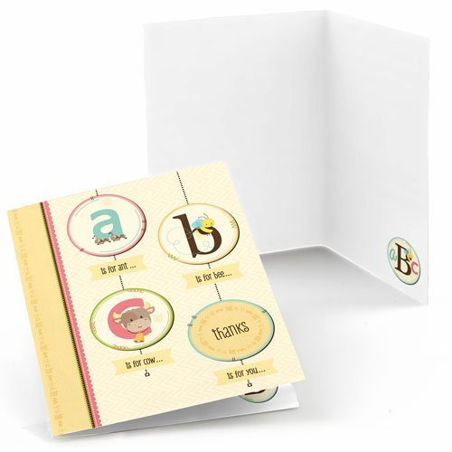 A is for Alphabet - Baby Shower or Birthday Party Thank You Cards (8 count)