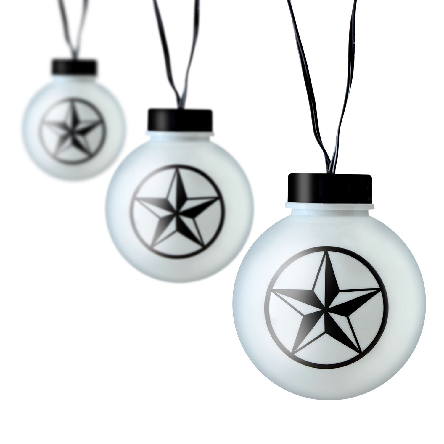 Meilo 12ft Texas Star String Lights - 6 Large Globes (3'' Diameter) G25 Warm White LED Lights for RV, Patio, Courtyards, Weddings, Christmas Décor, Indoor/Outdoor