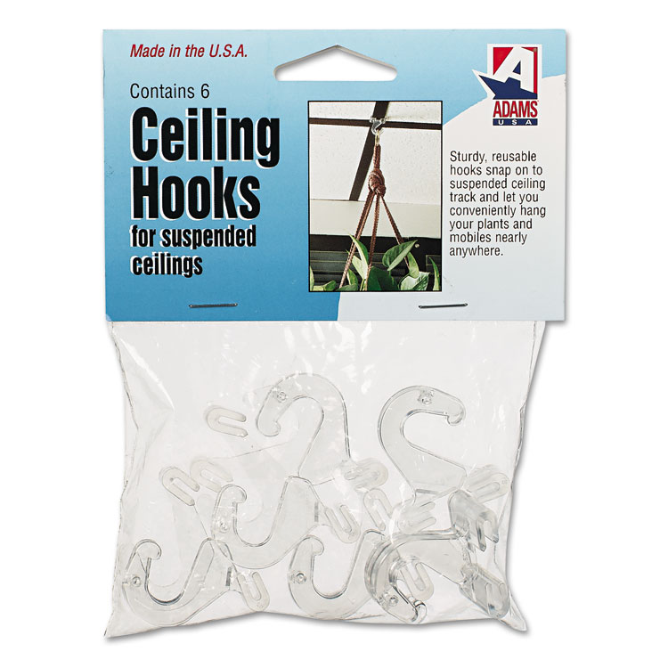 Adams Manufacturing Corporation Clear Plastic Ceiling Hooks, 5/16 X 3/4 X 1-3/8, 6 Hooks/Pack
