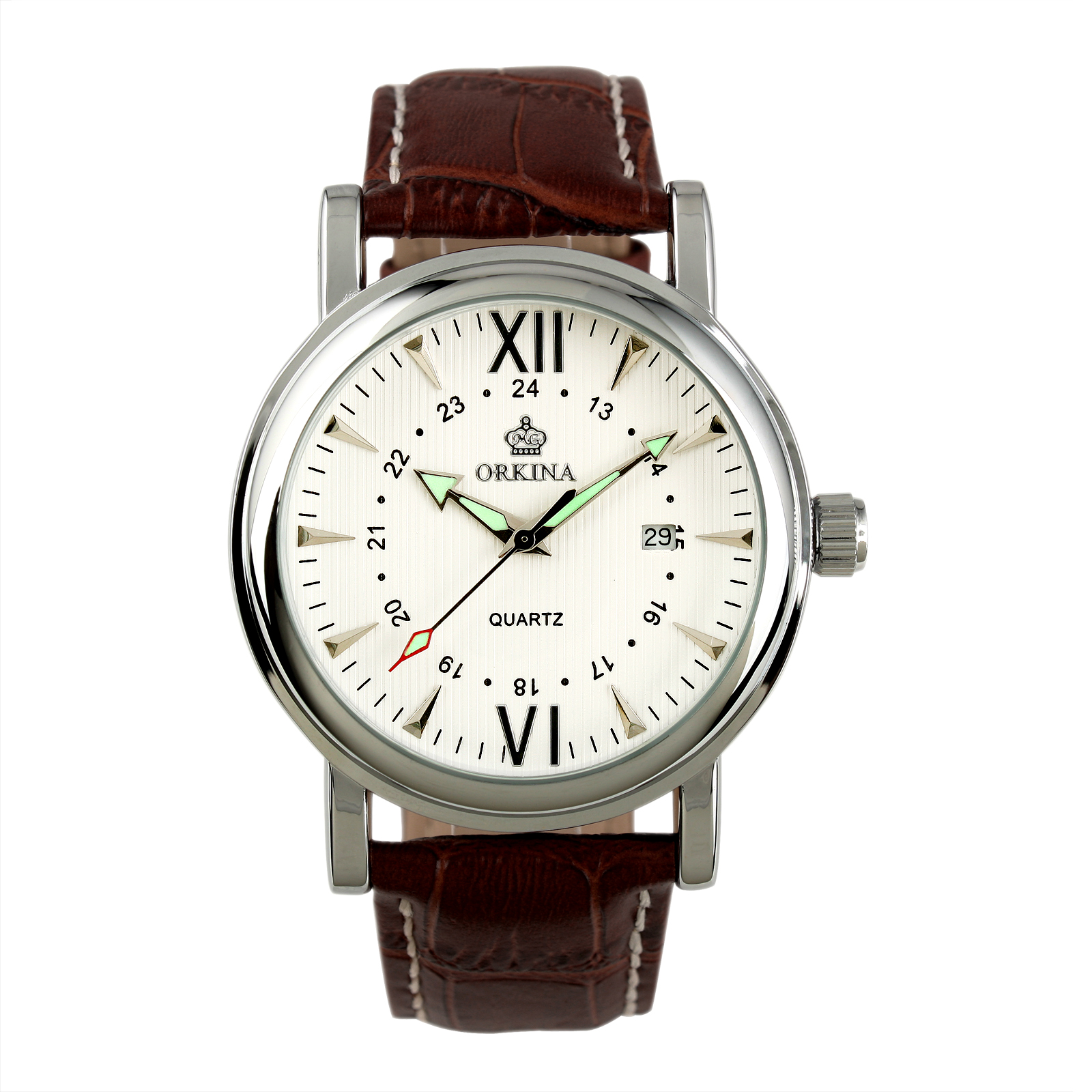White Dial Mens Quartz Man Wrist Watch Date Display Luminous Brown Leather