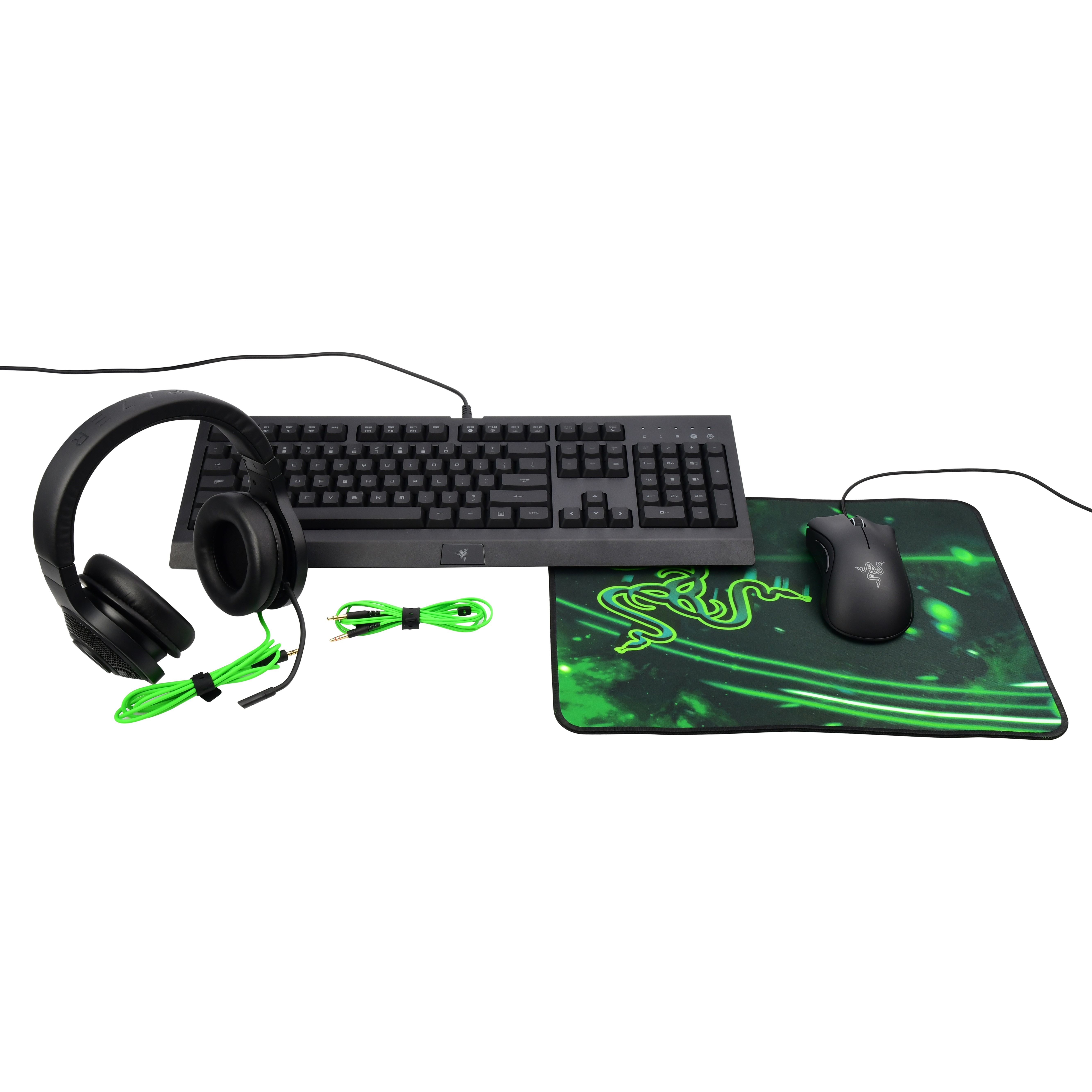 Razer 4-Piece Gaming Bundle - Includes Cynosa Pro Keyboard, DeathAdder Mouse, Kraken Headset, and Goliathus Mouse Pad