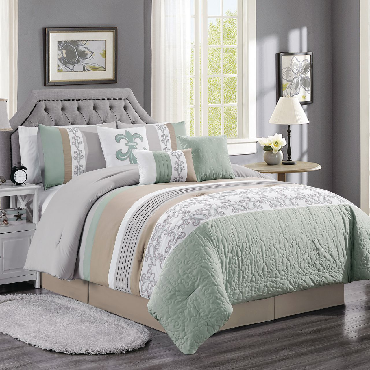 11 Piece Osier Sage/Taupe/Gray Bed in a Bag Set