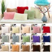 """24""""×24""""Faux Fur Throw Pillow Cover Sofa Fluffy Cushion Cover Light Green"""