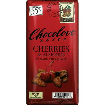 (2 Pack) Chocolove Dark Chocolate Bar Cherries & Almonds 3.2 -