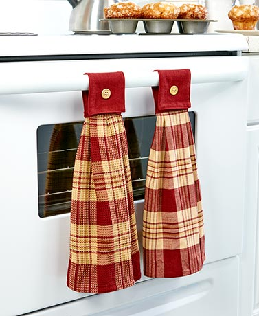 2 Hanging Country Kitchen Towel Burgundy by