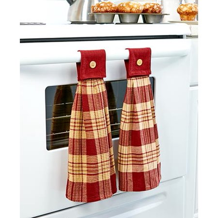 (2 Hanging Country Kitchen Towel Burgundy)