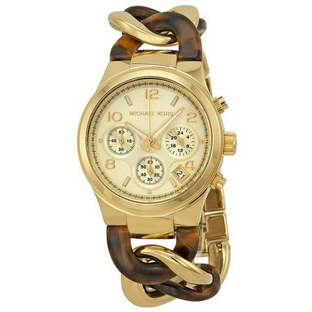 b69a9a78f17d Michael Kors - Michael Kors Chain Link Acrylic Gold-tone Ladies Watch  MK4222 - Walmart.com