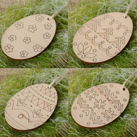 4Pc Wooden Easter Egg Hanging Pendant Wall Door Decor Sign Hanger for Home - Shop Home Decor