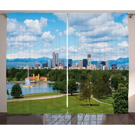 Urban Curtains 2 Panels Set, City Park at Denver Colorado Downtown Tree and Architecture Sunny Panorama, Window Drapes for Living Room Bedroom, 108W X 90L Inches, Sky Blue Fern Green, by Ambesonne - Halloween Night Downtown Denver
