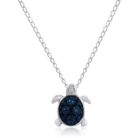 Teeny-Tiny Blue Diamond Turtle Pendant in Sterling Silver on a 17in. -