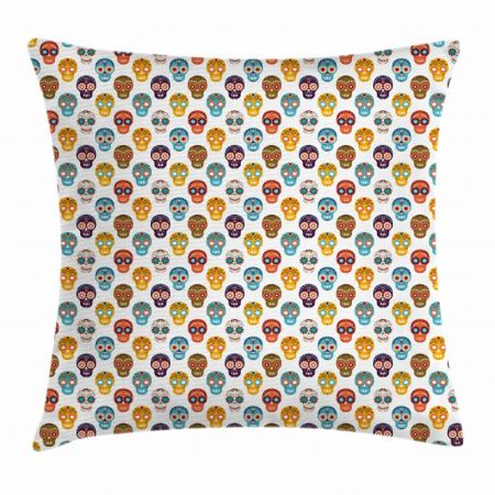 Sugar Skull Throw Pillow Cushion Cover, Pattern with Floral Funky Latin American Ornaments Simple Folk Calavera Style, Decorative Square Accent Pillow Case, 18 X 18 Inches, Multicolor, by Ambesonne