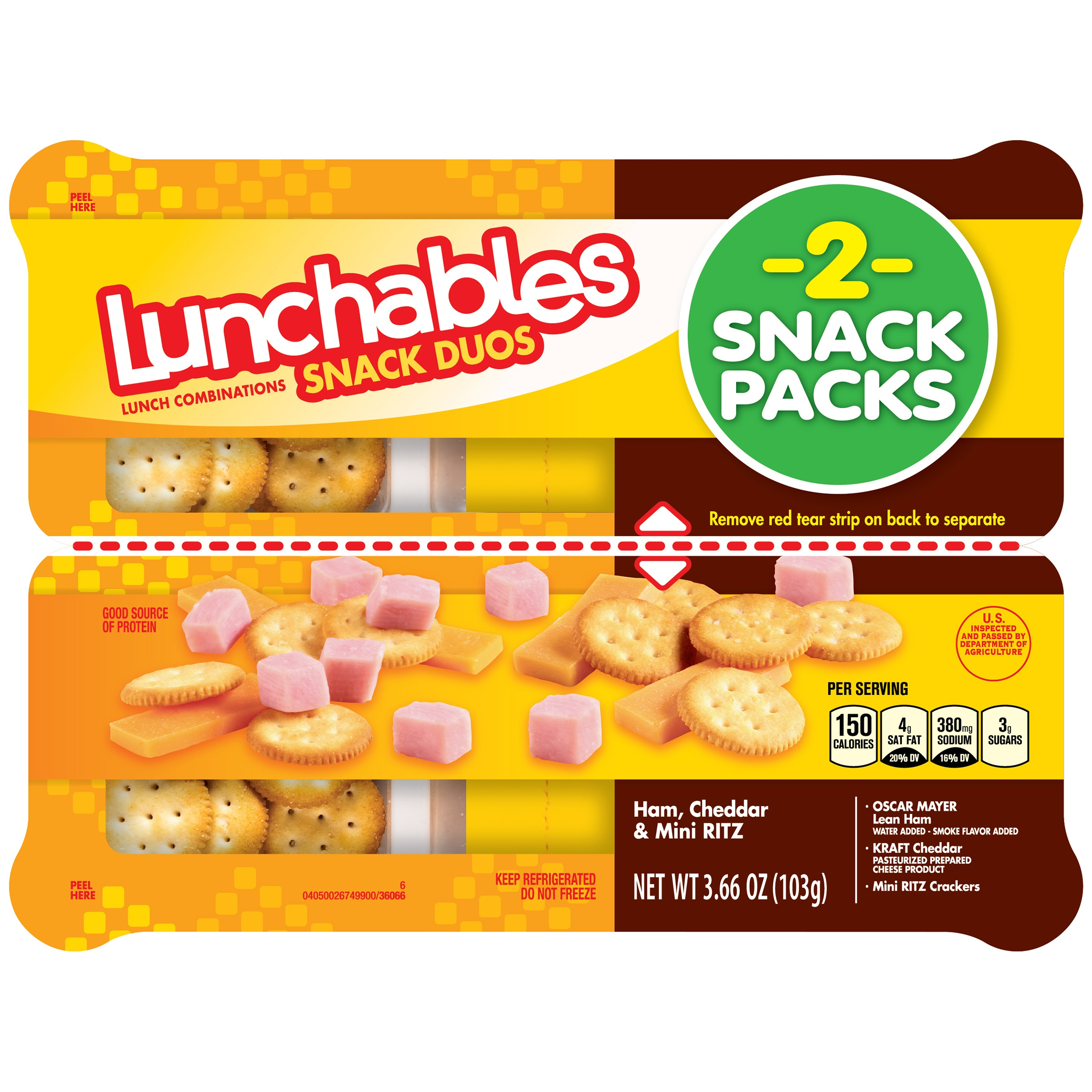 Lunchables Snack Duos Ham, Cheddar & Mini Ritz Snack Combinations, 2 count, 3.66 oz