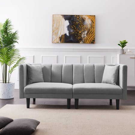 Light Gray Couch, SEGMART Convertible Sofa Bed, Twin Fabric Sofa Sleeper with Armrest, Futon Couches and Sofas w/Two Pillows, Small Spaces Recliner Couch Living Room Furniture Loveseat Sofa, LL145