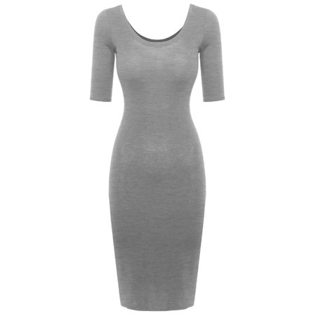FashionOutfit Women's Lounging Scoop Neck Elbow Sleeve Fitted Dress Fitted Wiggle Dress