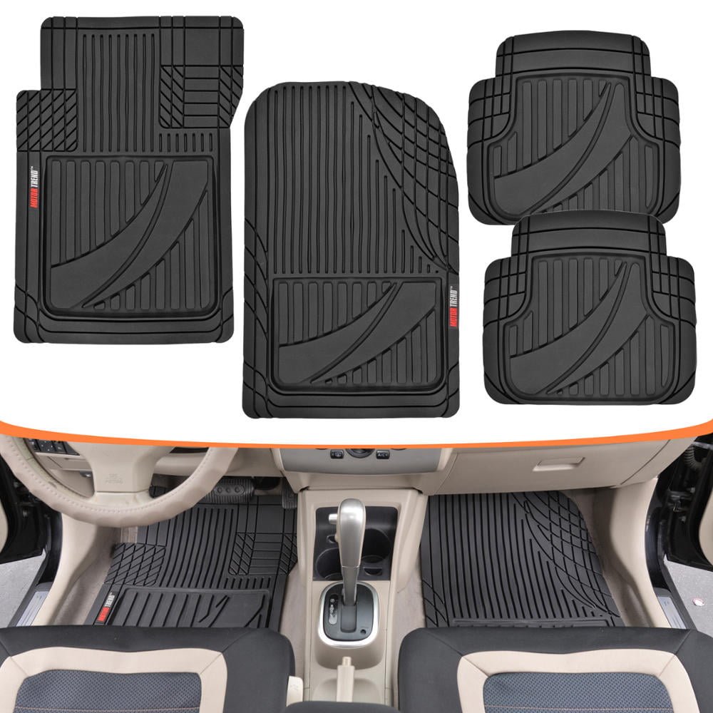 4pc SM SUV Front Bl Rubber Mats /& Utility Rear Bl Floor Mats Set