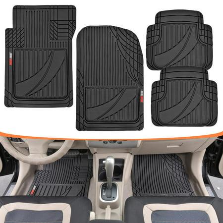 FlexTough Advanced Performance Mats - 4pc HD Rubber Floor Mats for Car SUV Auto All Weather Plus (Black)