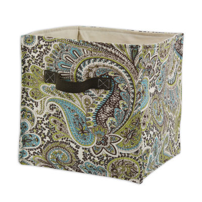 "Paisley Chocolate Soft Sided Storage Container 11""h x10.75w with Brown Canvas Handle"