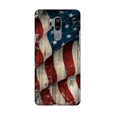 Wooden Case - LG G7 Case, LG G7 ThinQ Case, Slim Fit Handcrafted Designer Printed Snap on Hard Shell Case Back Cover - USA Flag - Vintage Wooden Texture
