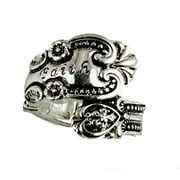 Spoon Style Stretch Ring FAITH Inscribed Antiqued Finish Jewelry