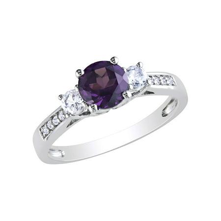 abb0b2d0b5172 Created Alexandrite and Created White Sapphire Three Stone Ring with  Diamonds 1.35 Carat (ctw) in 10K White Gold | Walmart Canada