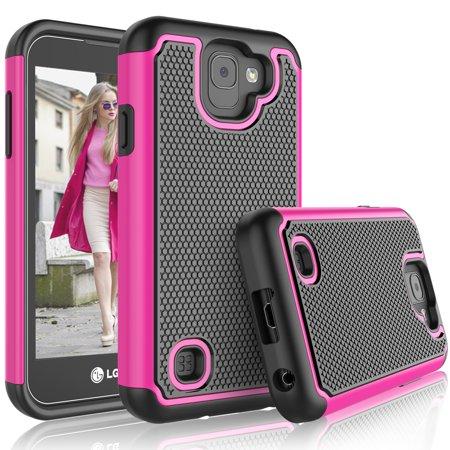 Hot Pink Rubber Case - LG K3 2017 Case, 2017 LG K3 Case For Girls, Tekcoo [Tmajor] Shock Absorbing [Hot Pink] Adorable Soft Rubber Silicone Plastic Scratch Resistant Defender Bumper Rugged Hard Cases Cover For LG US110