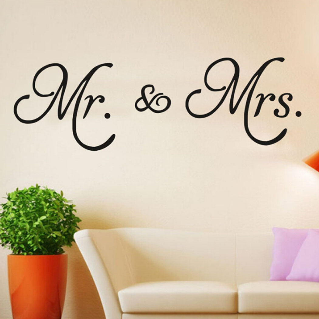Wall Sticker Creative Mr. & Mrs. Letter Removable Wall Decal Wall Decor Decal for Home Decor Living Room 15.75*7.87in (Black)