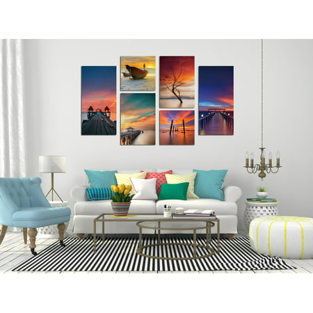 Chic Home Ocean View 6 Piece Set Wrapped Canvas Wall Art ()