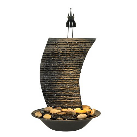 """John Timberland Water Ripple 17 1/4"""" High Lighted Table Fountain"""