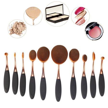 Makeup Brushes 10Pcs Set Foundation Contour Powder Blush Conceler Eyeliner Shadows Blending Cosmetic Brush Tool(Rose Gold Black ) (Red And Black Make Up Brush Set)