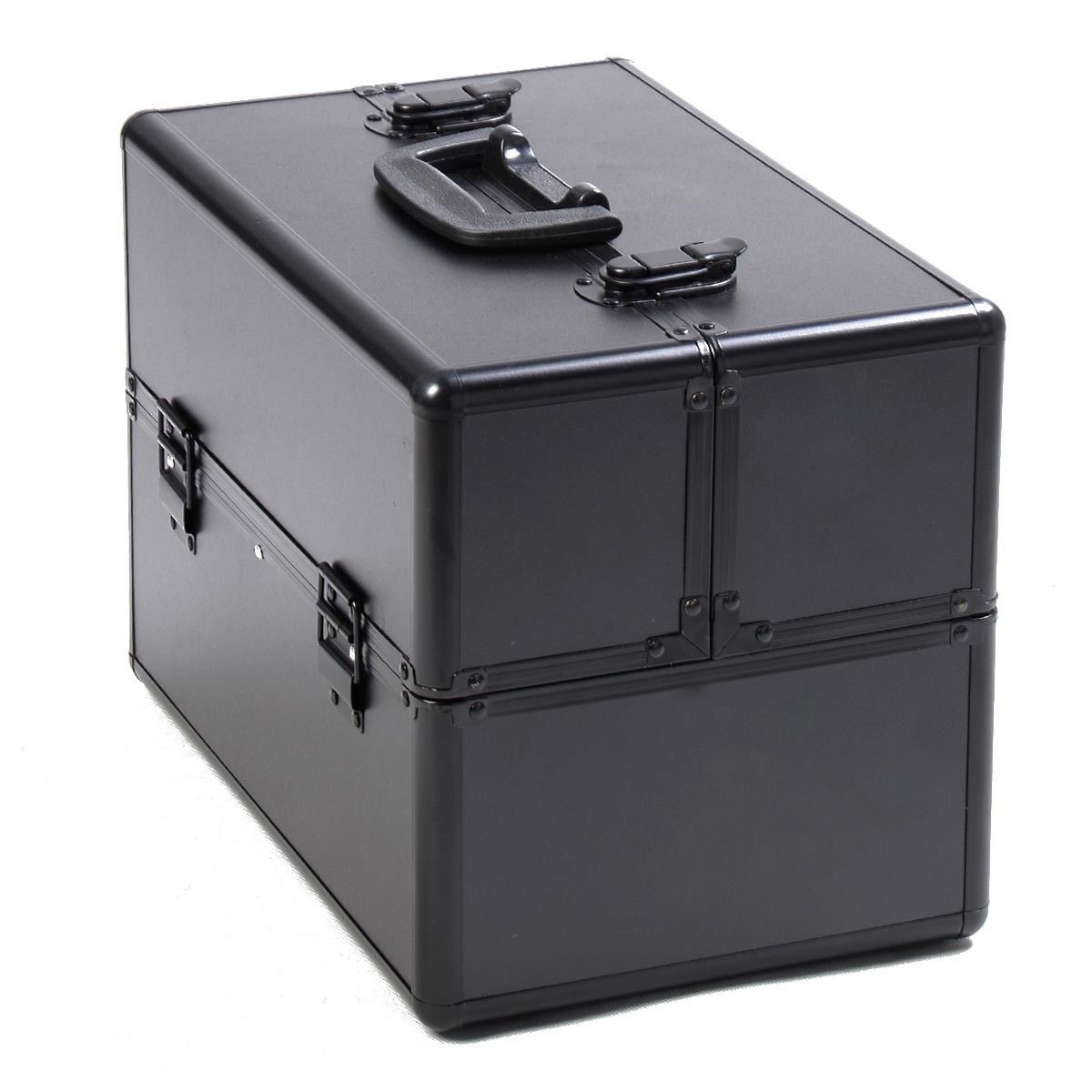 Pro Aluminum Makeup Train Case Jewelry Box Cosmetic Organizer (Black)