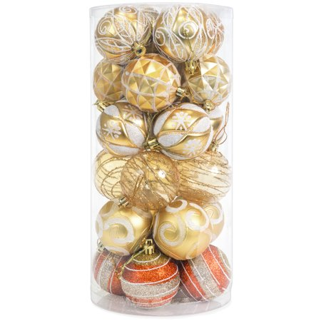 Best Choice Products Set of 24 60mm Shatterproof Christmas Ball Ornaments Hanging Holiday Pendant Decoration w/ Embossed Glitter Design - Gold (Cheap Ornaments)