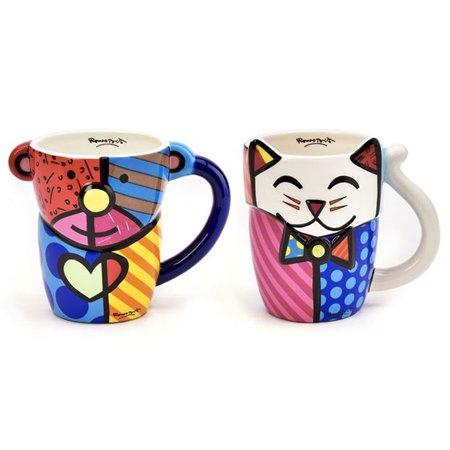 1 Romero Britto Coffee Mug Cup Animal Design Ceramic Authentic Bear Cat Pop Art ()