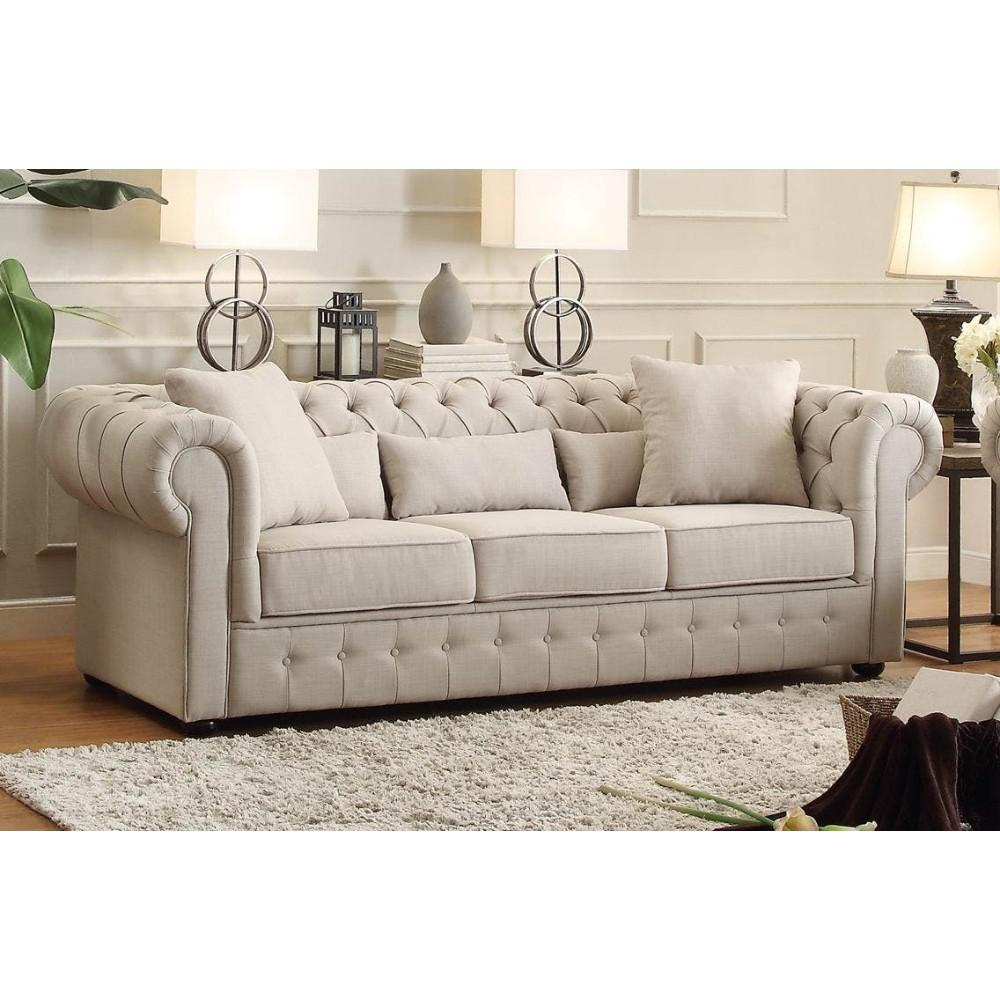 Fabric Upholstered Button Tufted Sofa With 5 Pillows ...
