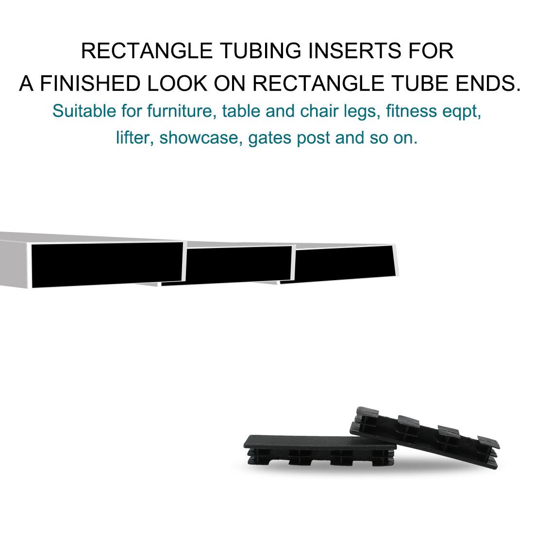 20 x 100mm Plastic Rectangle Ribbed Tube Inserts Furniture Floor Protector 60pcs - image 3 de 7