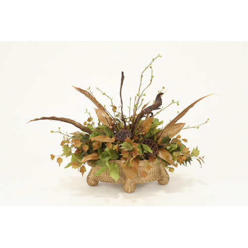 Distinctive Designs Fall Silk Foliage and Mix Pods Desk Top Plant in Planter