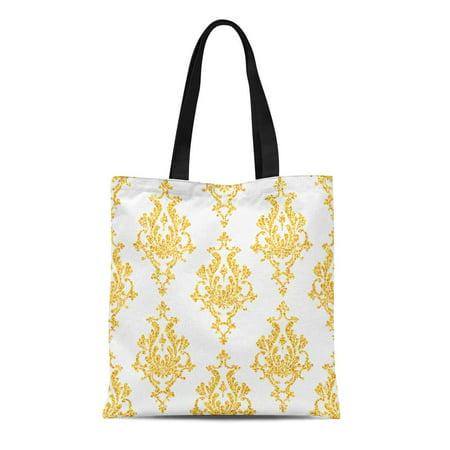 ASHLEIGH Canvas Tote Bag Swirl Damask Floral Golden Sparkles on Vip Pattern Shiny Reusable Shoulder Grocery Shopping Bags Handbag