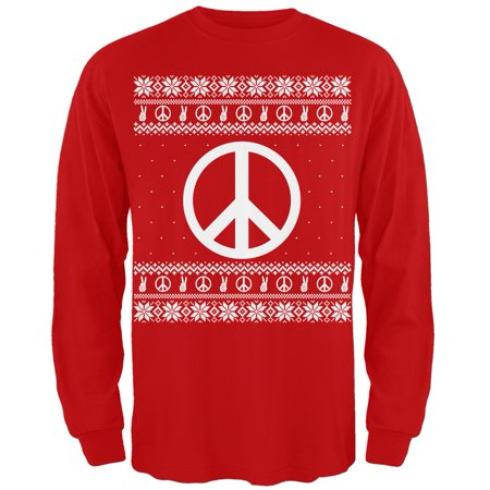 Peace Sign Ugly Christmas Sweater Red Adult Long Sleeve T-Shirt
