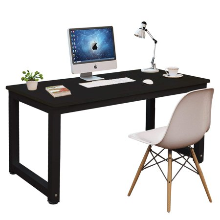 hot sale online 358e6 5c444 DL furniture - Professional Office Desk Wood & Steel Table Modern Plain Lap  Desk with Rectangular Legs Computer Desk Personal Working Space - Black |  ...