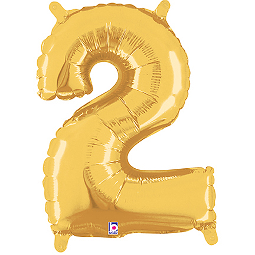 Number 2 Gold Megaloon Junior Balloon