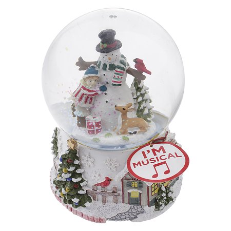Musical Classic Snowman and Winter Village Snow Globe