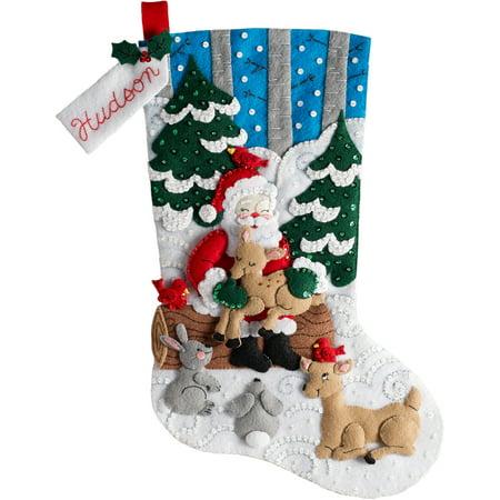 Bucilla Christmas Felt Kits - Bucilla Felt Stocking Applique Kit 18