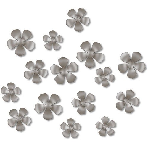 Home Trends 15-Piece Bloom Wall Decor Set, Nickel