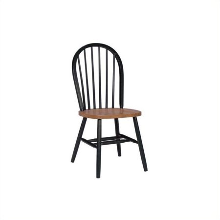 Pemberly Row Windsor Dining Chair in Black and Soft Cherry ()