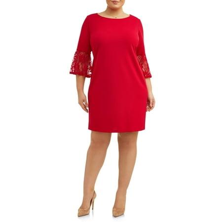 Women's Plus Size Crochet Bell Sleeve - Plus Size Luau Dress