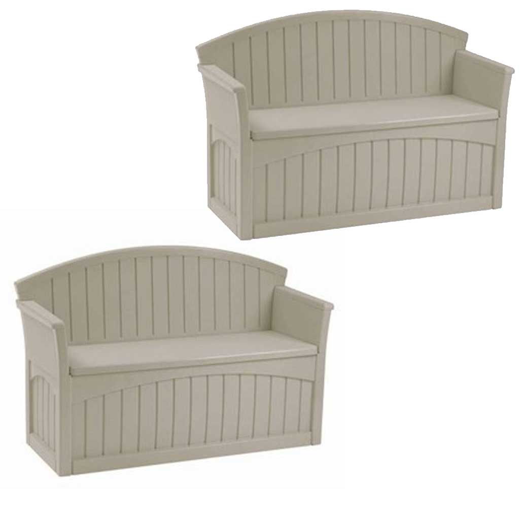 Suncast 50 Gallon Patio Bench Large Outdoor Durable Resin Storage Box (2 Pack)