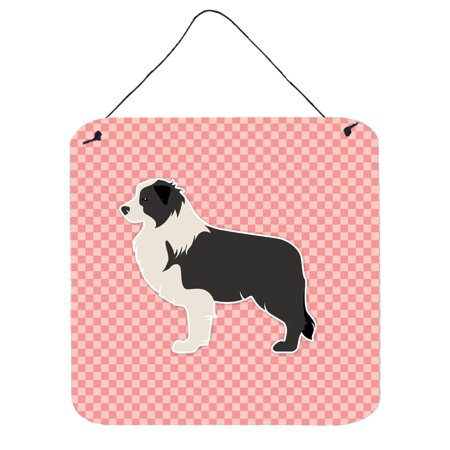 Black Border Collie Checkerboard Pink Wall or Door Hanging Prints BB3623DS66