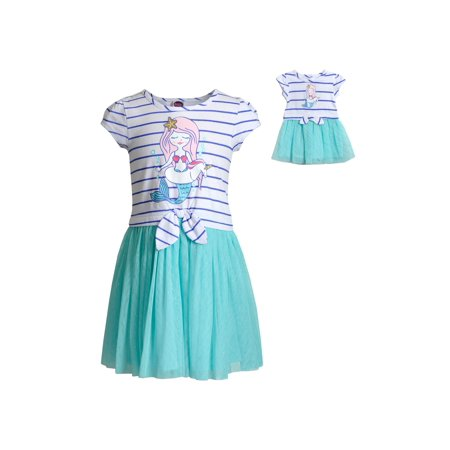 Striped, Mermaid Graphic Tutu Dress With Matching Doll Outfit (Little Girls & Big Girls)](Little Mermaid Outfits)