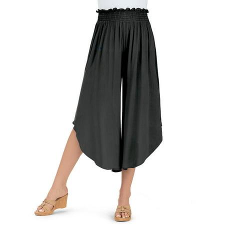 women's tulip hem elastic waist rayon split skirt culottes wide leg capri pants - made in usa, large, black - made in the usa